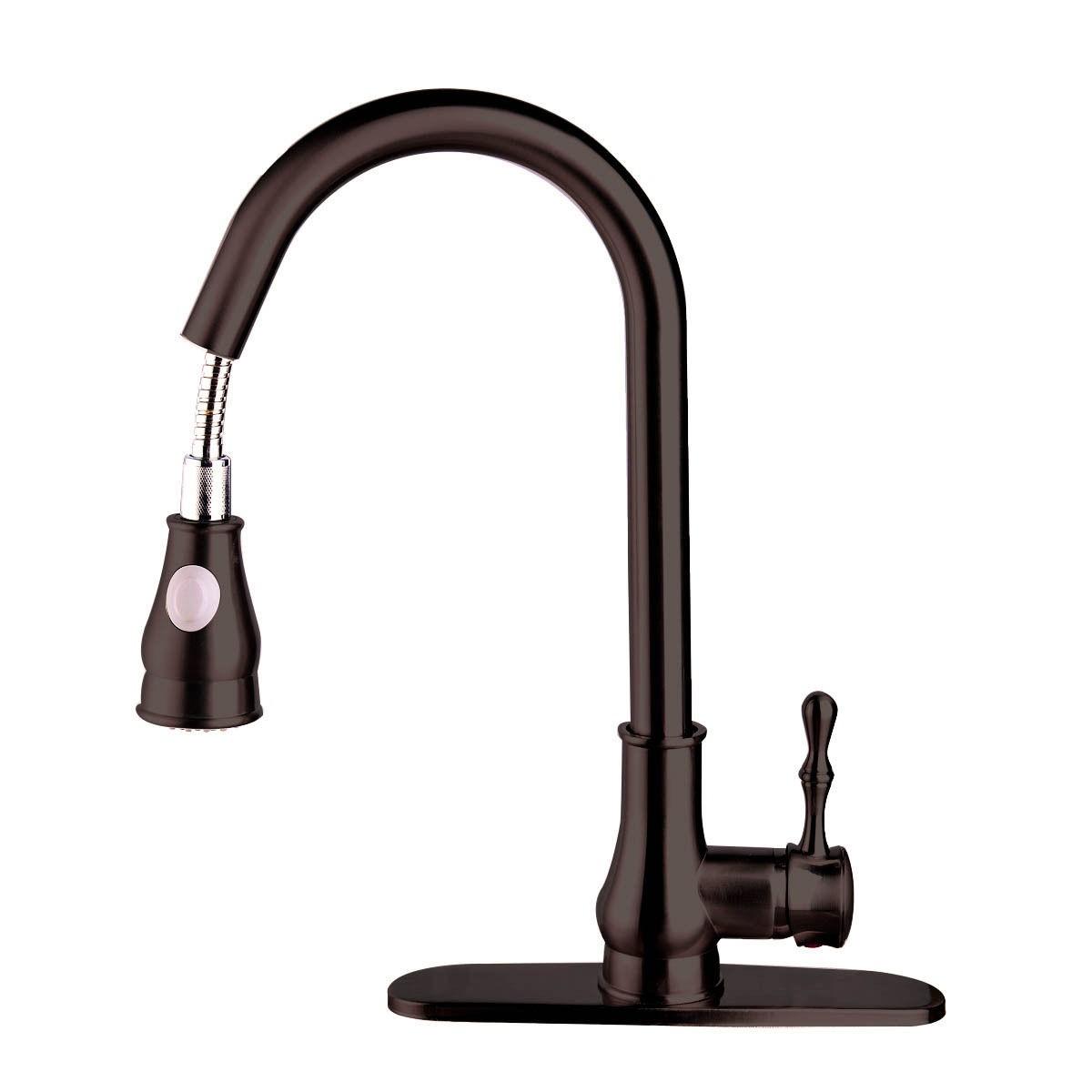 Dark Brown Pull Out Spray 16 Kitchen Sink Faucet Swivel Spout Dispenser