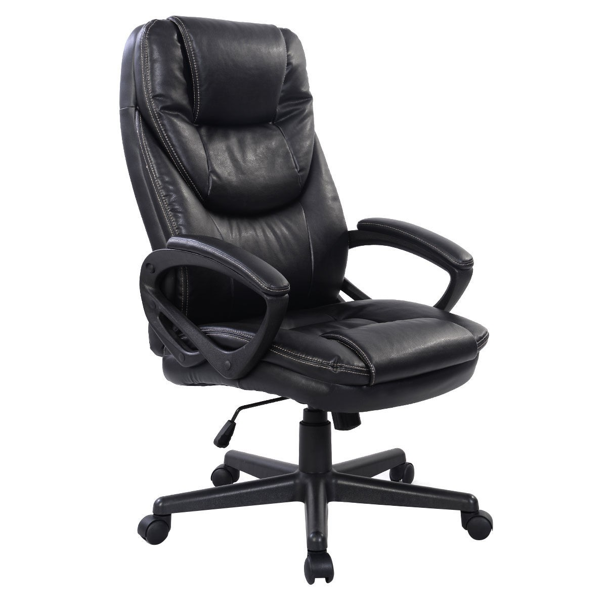 PU Leather High Back Office Chair Executive Task Ergonomic Computer Desk Blac