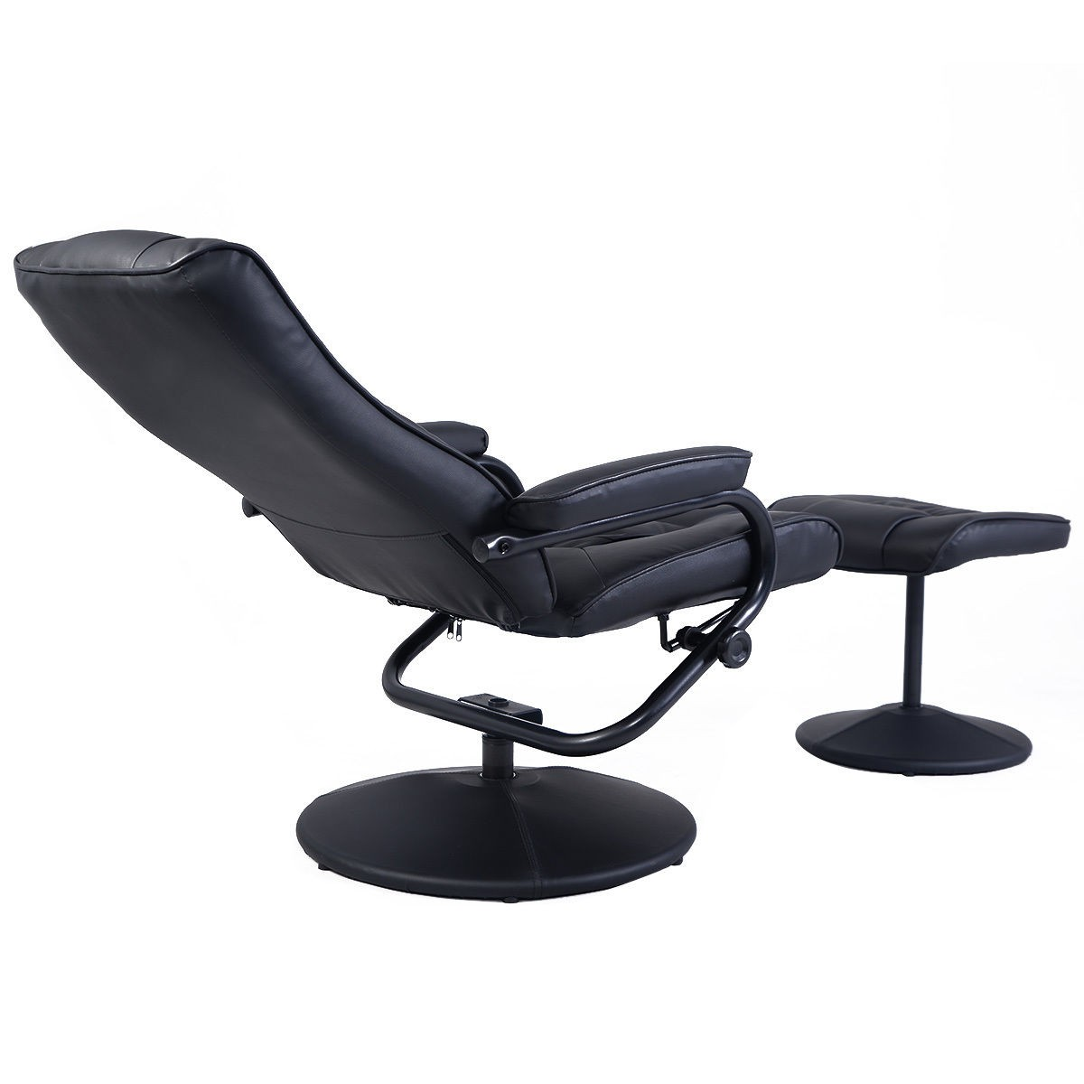 Leather recliner chair swivel armchair lounge seat with for Swivel club chair leather