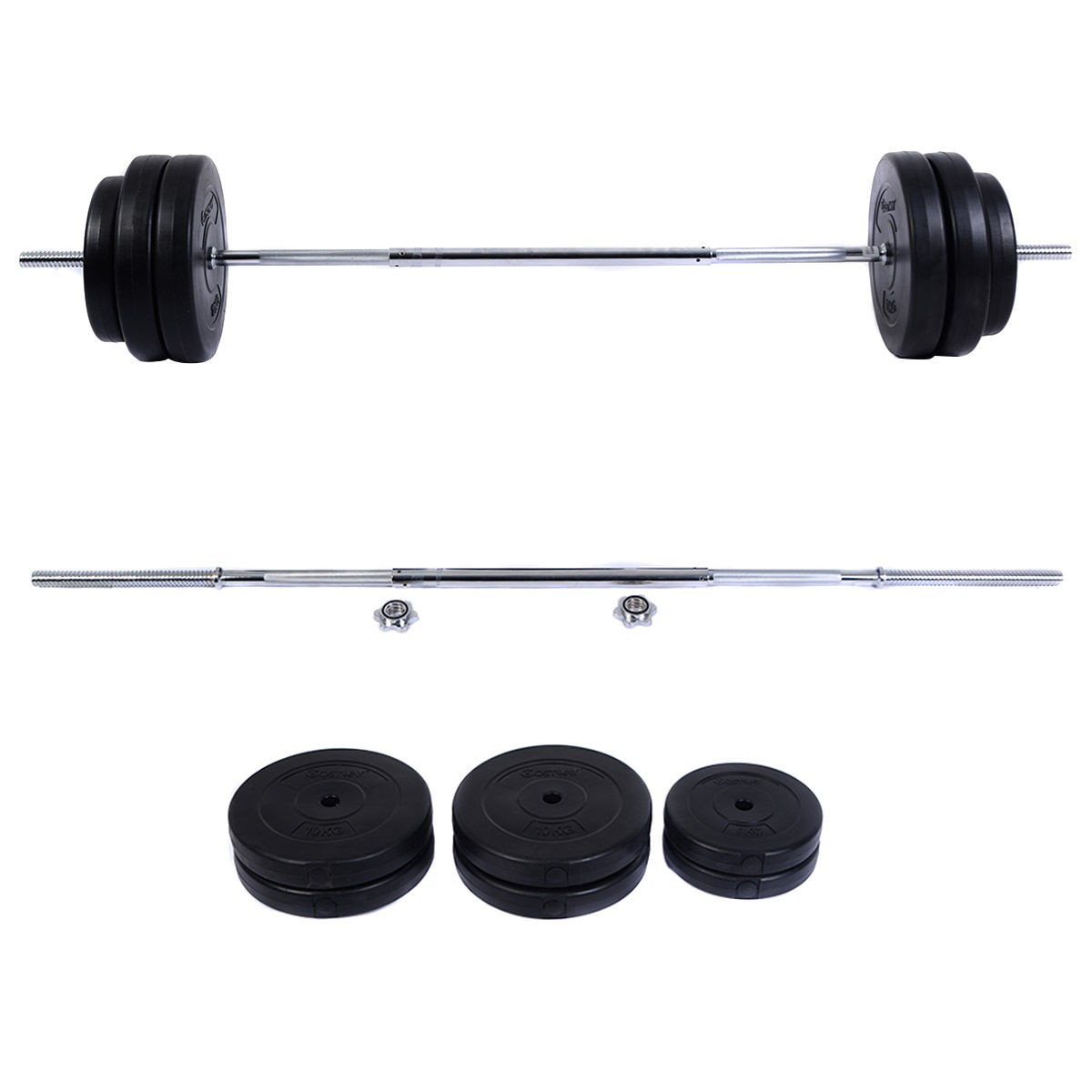 124 Lb Barbell Dumbbell Weight Set Gym Lifting Exercise Curl Bar