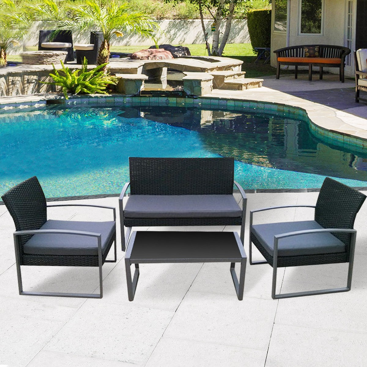 4 PCS Outdoor Patio Black Rattan Wicker Sofa Set Garden