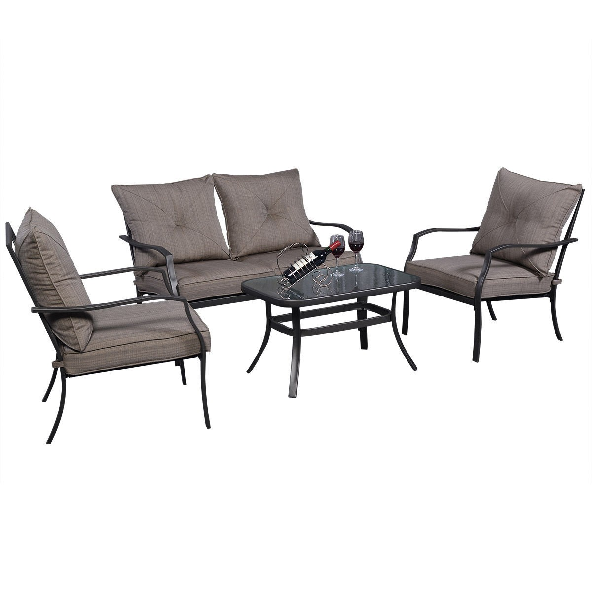 4 PCS Patio Furniture Set Tea Table Chairs Outdoor Garden Pool Steel Fr
