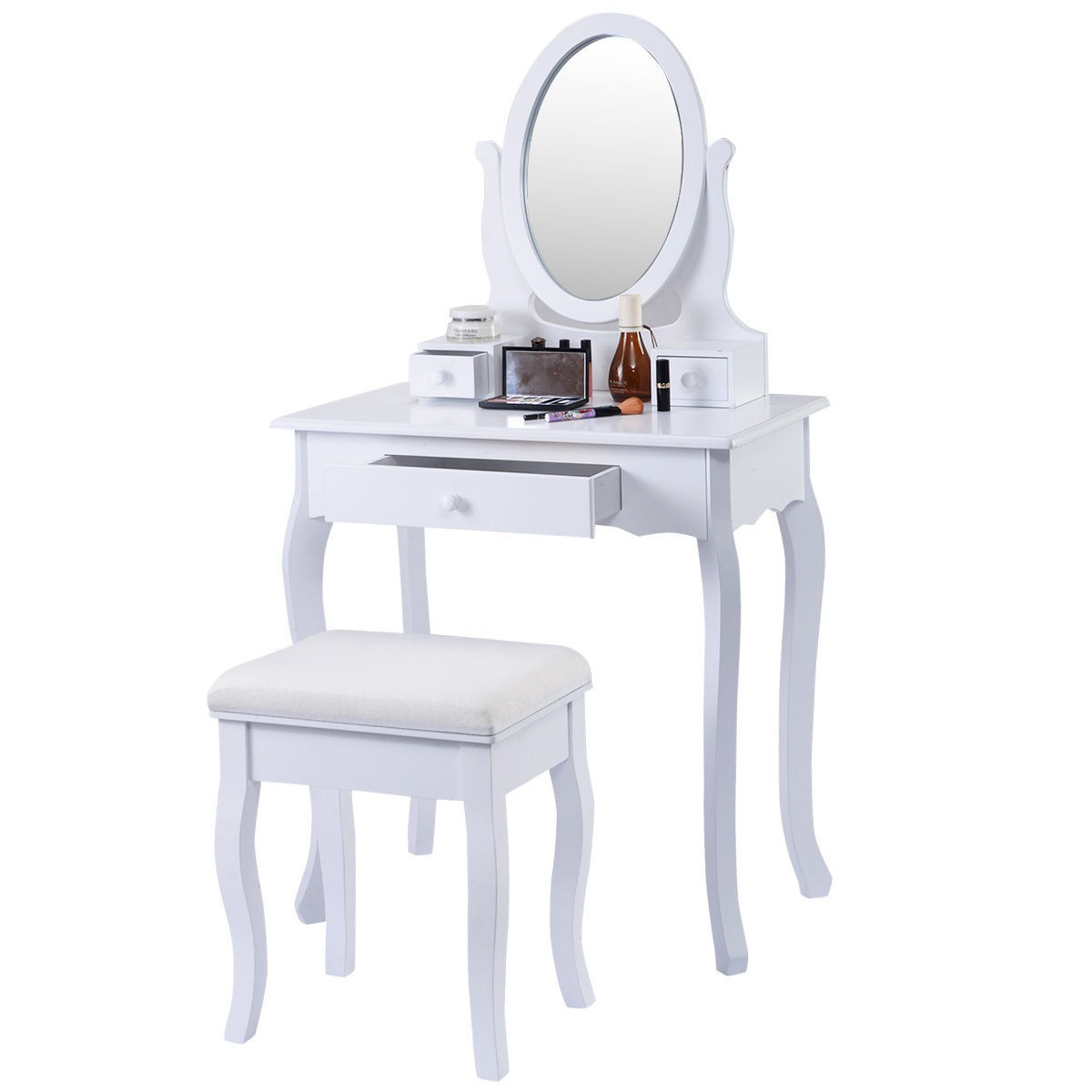 Classic Vanity White Table Jewelry Makeup Desk Bench ...
