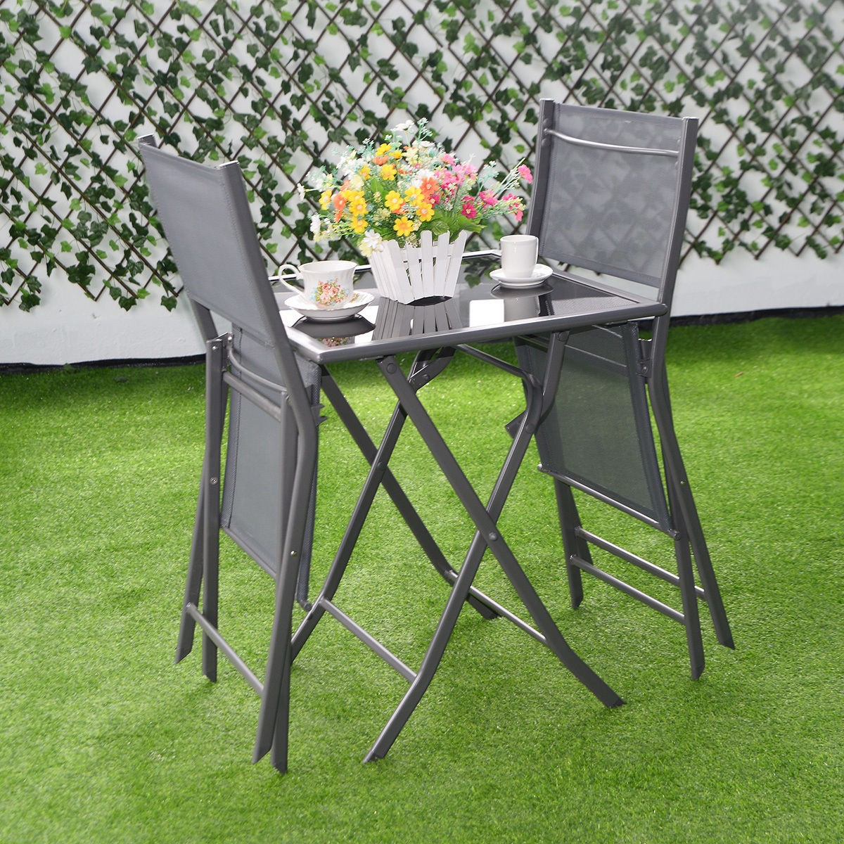 3pcs bistro set garden backyard table chairs outdoor patio furniture folding hot ebay. Black Bedroom Furniture Sets. Home Design Ideas