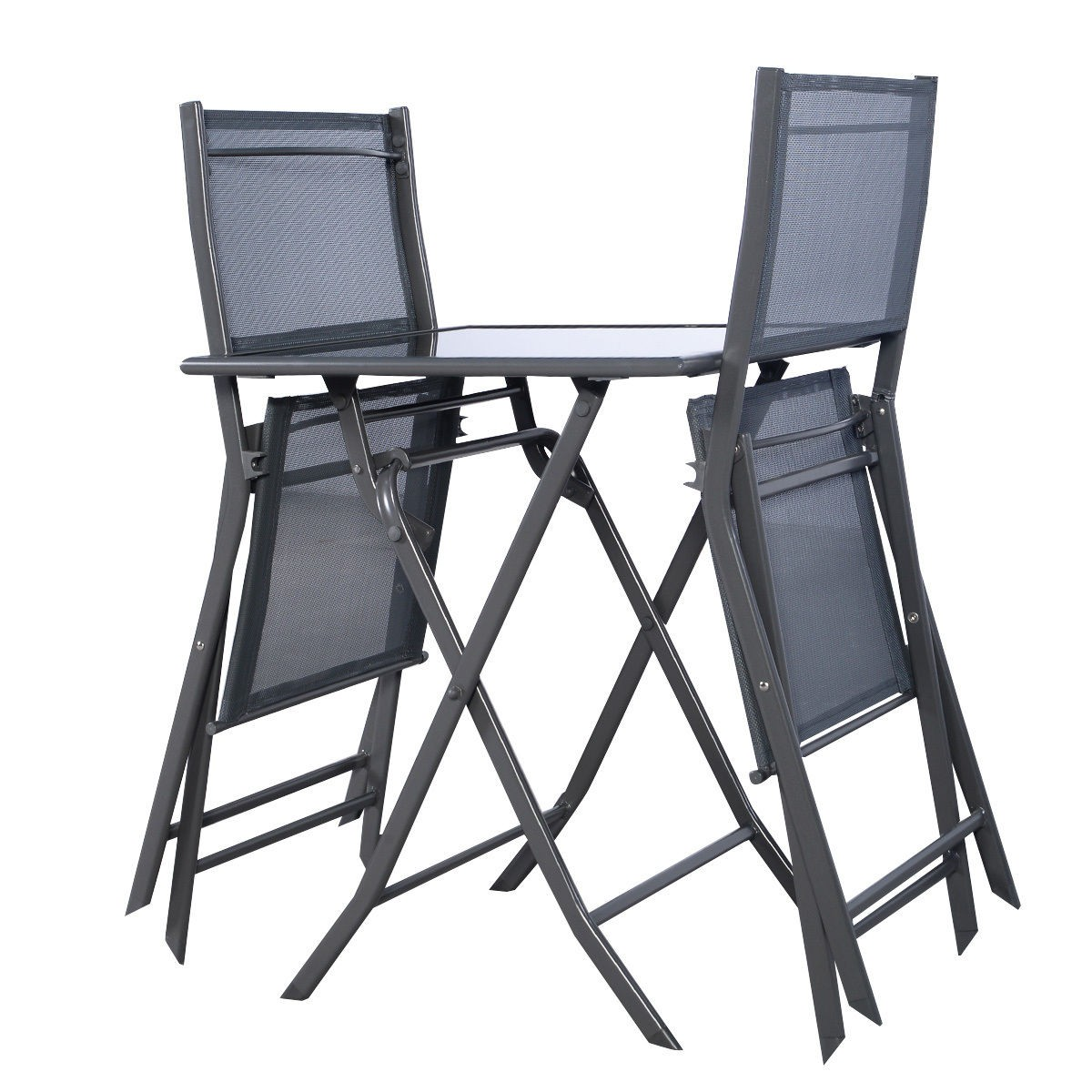 Garden Chair And Table Set On Ebay: 3PCS Bistro Set Garden Backyard Table Chairs Outdoor Patio