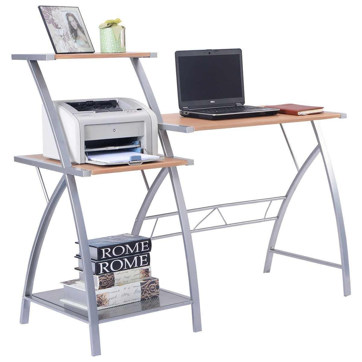 Computer Desk Pc Laptop Wood Table Home Office Study: W/3-tier Shelf Computer Laptop Writing Study Desk Table