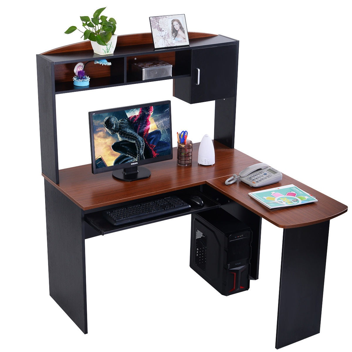fashion corner computer desk l shaped workstation office furniture ebay