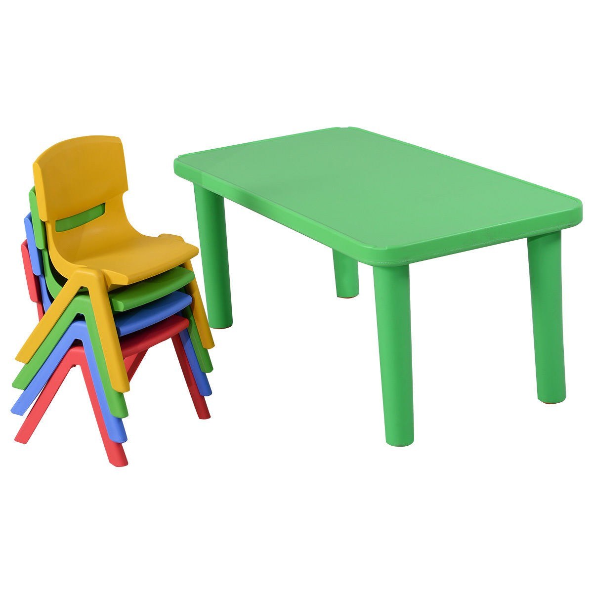 Fun kids plastic table and 4 chairs set colorful play school home furniture ebay Plastic home furniture