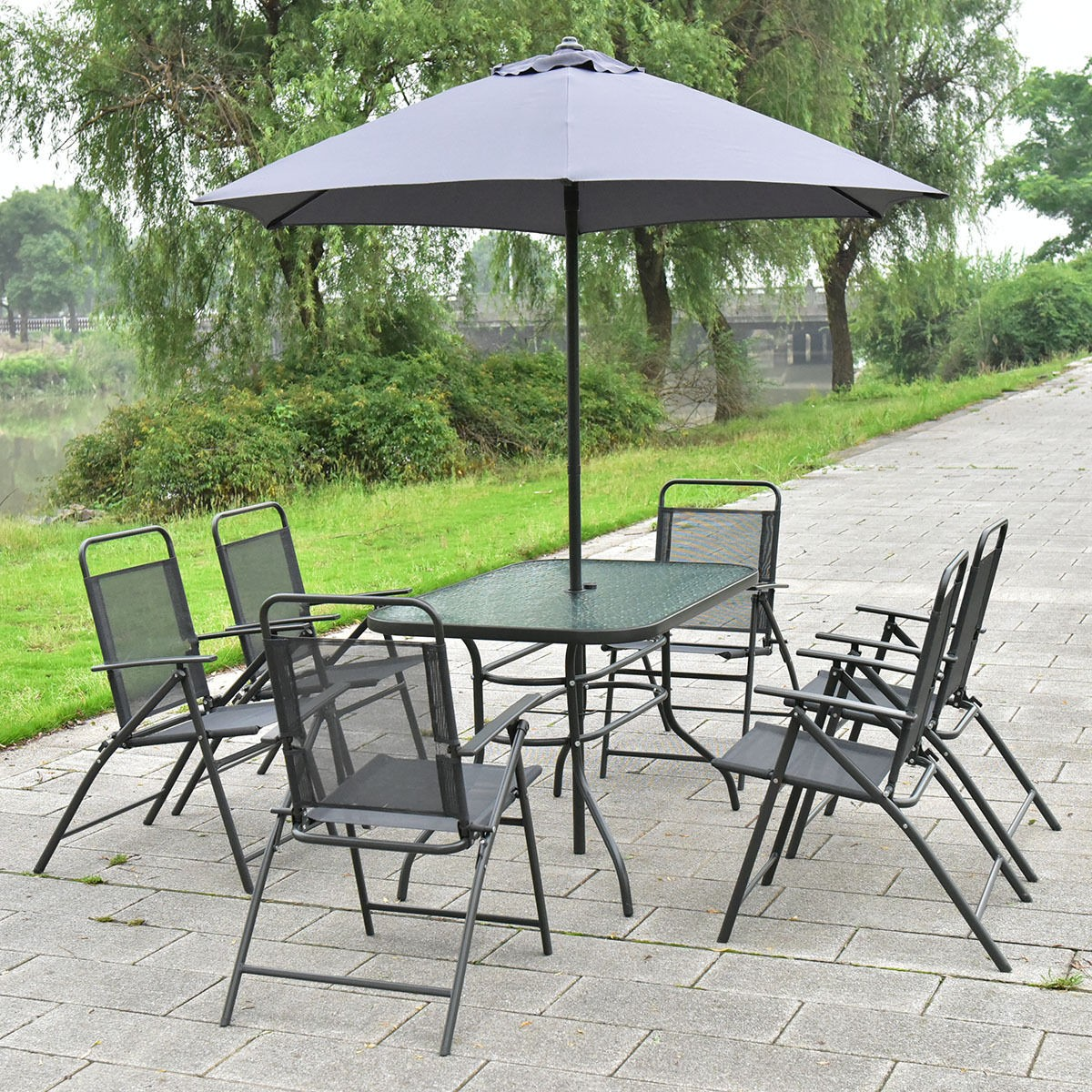 8 PCS Patio Garden Set Furniture 6 Folding Chairs Table With Umbrella Gray Ne