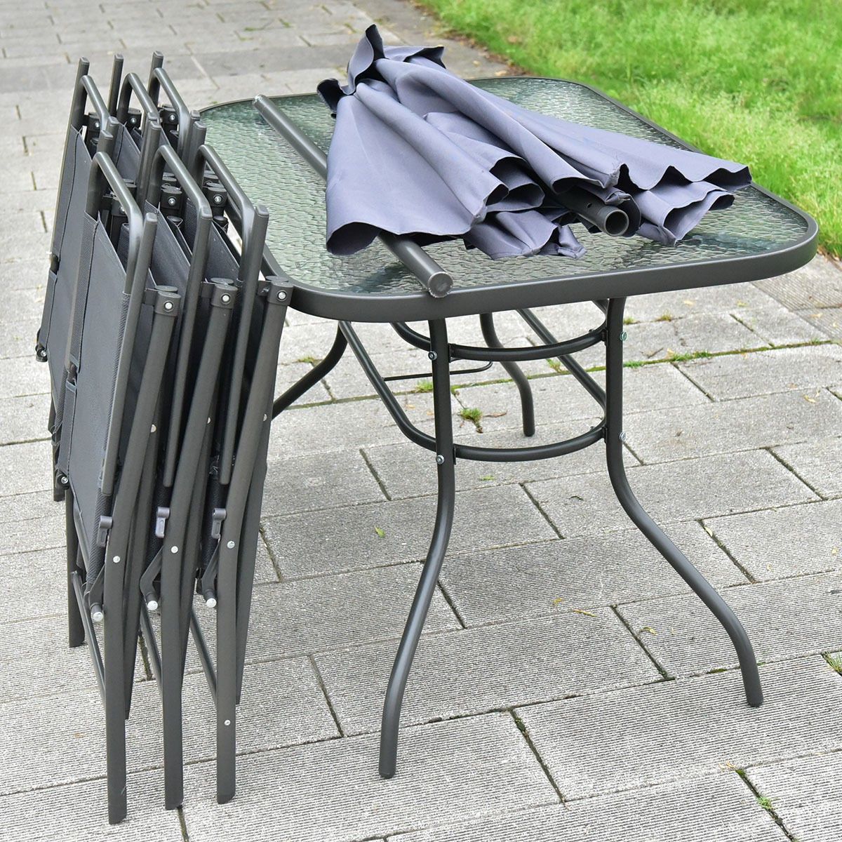 8 pcs patio garden set furniture 6 folding chairs table for Patio table and umbrella sets