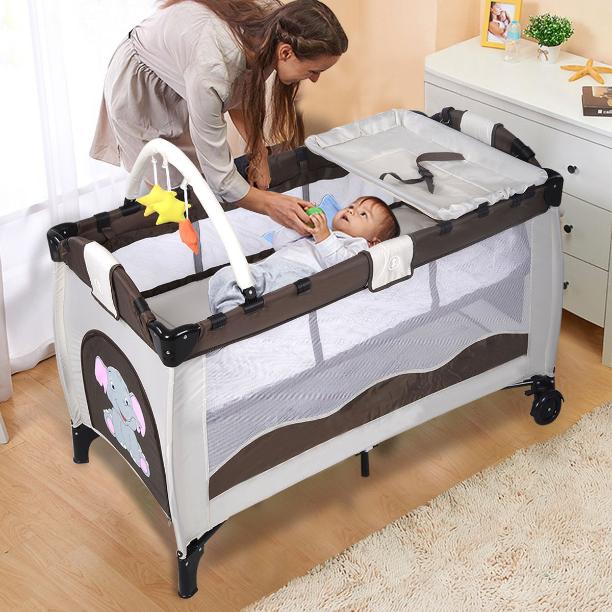 Portable Baby Crib Playpen Playard Pack Travel Infant