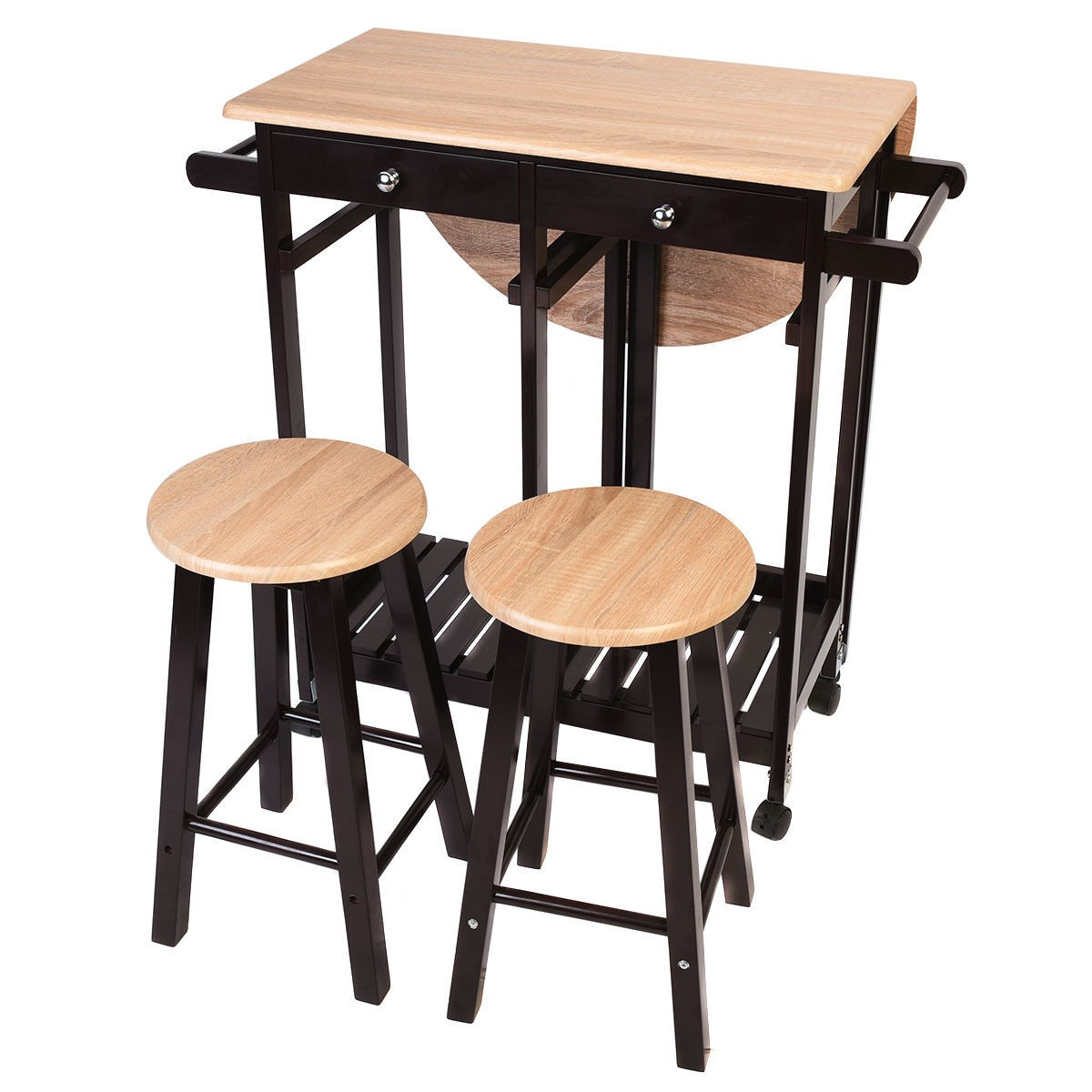 3pcs kitchen island set with drop leaf table 2 stools wood - Kitchen island with stools ...