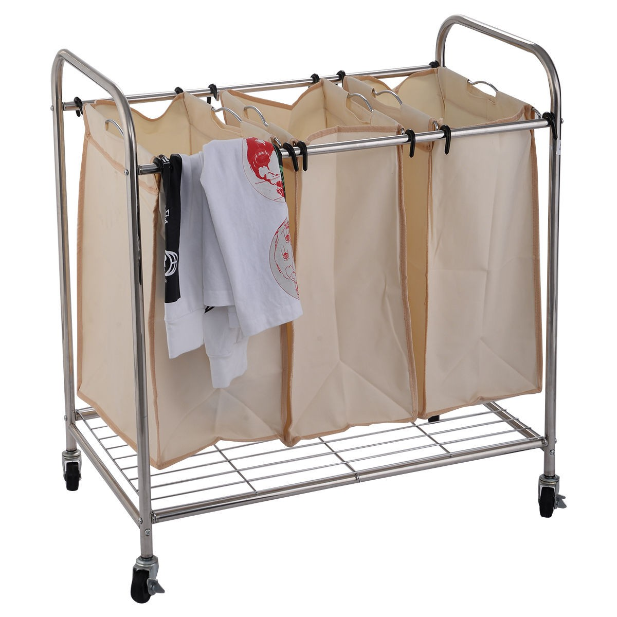 New 3 Bag Laundry Rolling Cart Basket Hamper Sorter