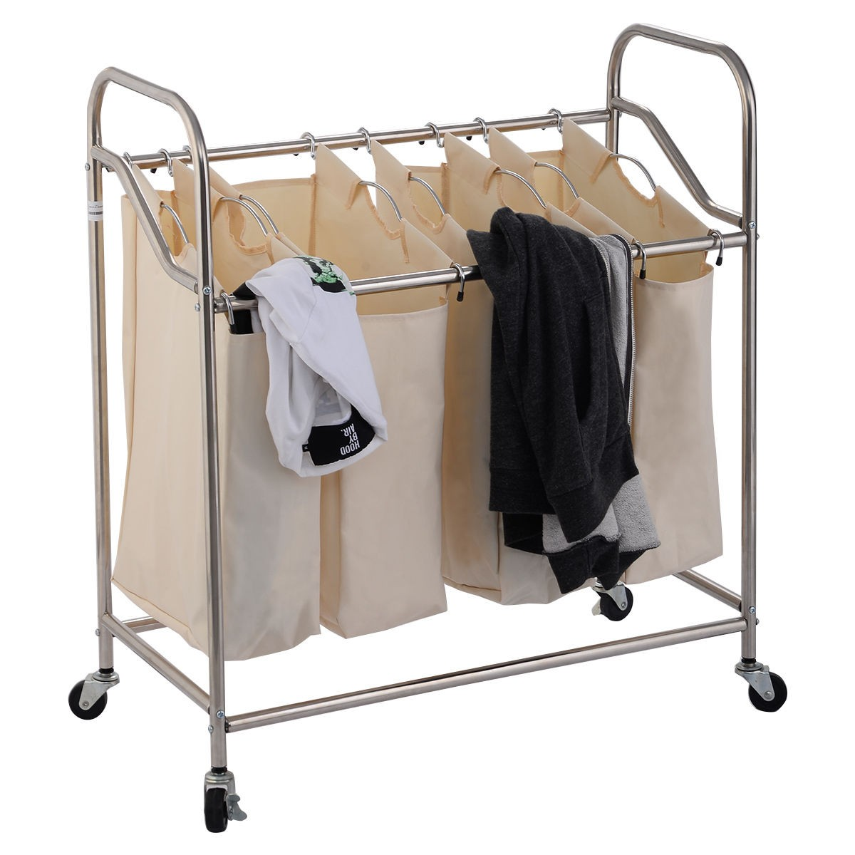 4 Bag Laundry Rolling Cart Basket Hamper Sorter Storage
