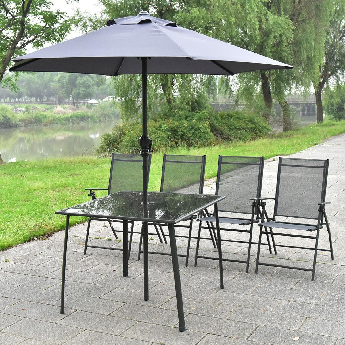 6pc patio garden set furniture 4 folding chairs table with umbrella us ship gray ebay - Garden table with umbrella ...