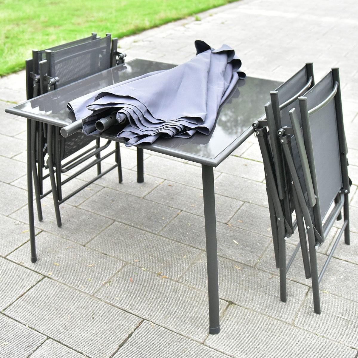 Gray 6pcs patio garden set furniture 4 folding chairs table with umbrella ebay - Garden table with umbrella ...