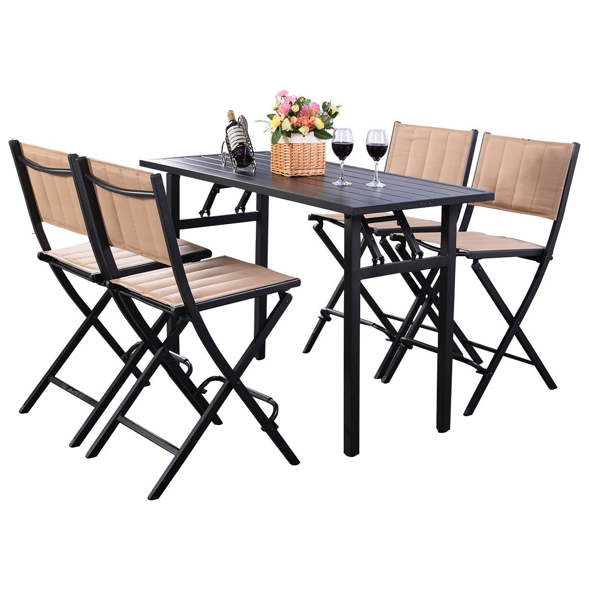 5 pcs patio outdoor folding chairs rect table backyard for Poolside table and chairs