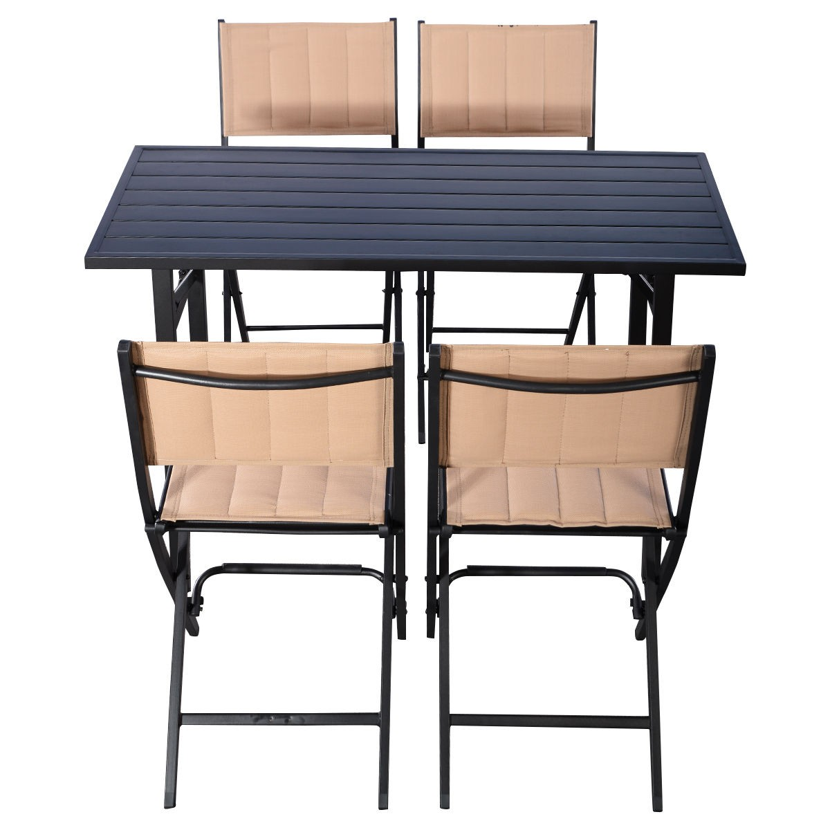 5 pcs set patio folding chairs rect table furniture for Poolside table and chairs