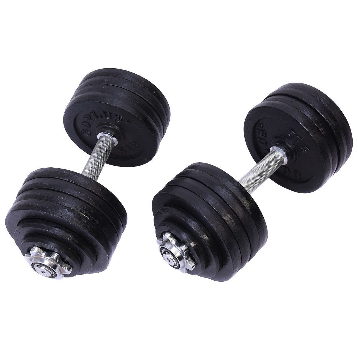 US 2x 52.5 LB Weight Dumbbell Set Adjustable Cap Gym
