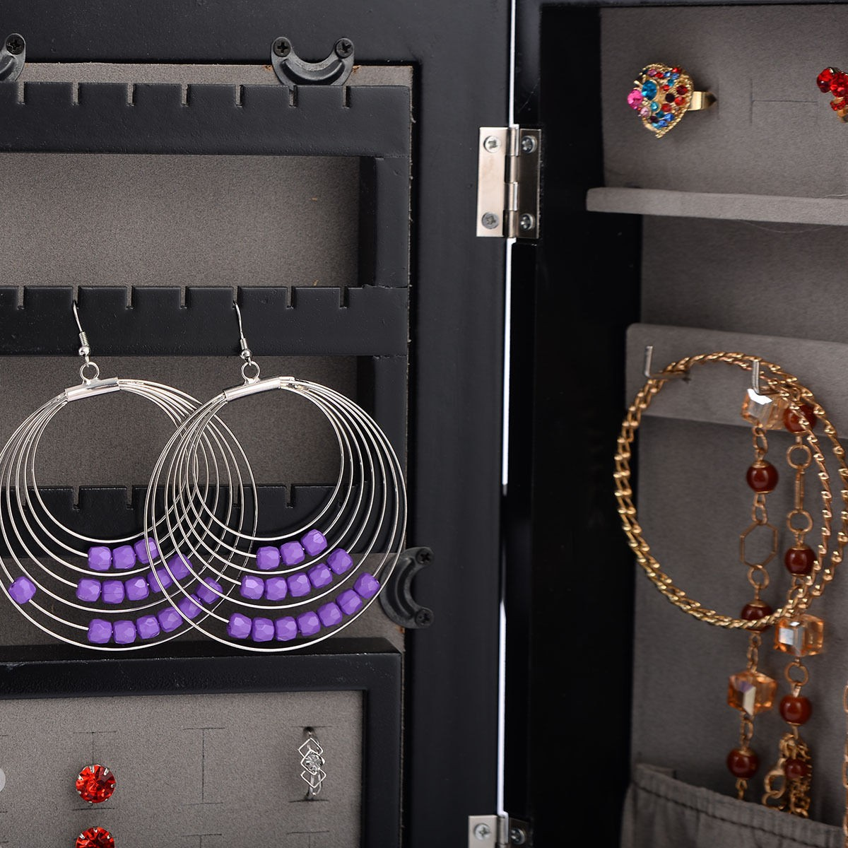 Small Jewelry Cabinet Organizer Armoire Mirrored Storage