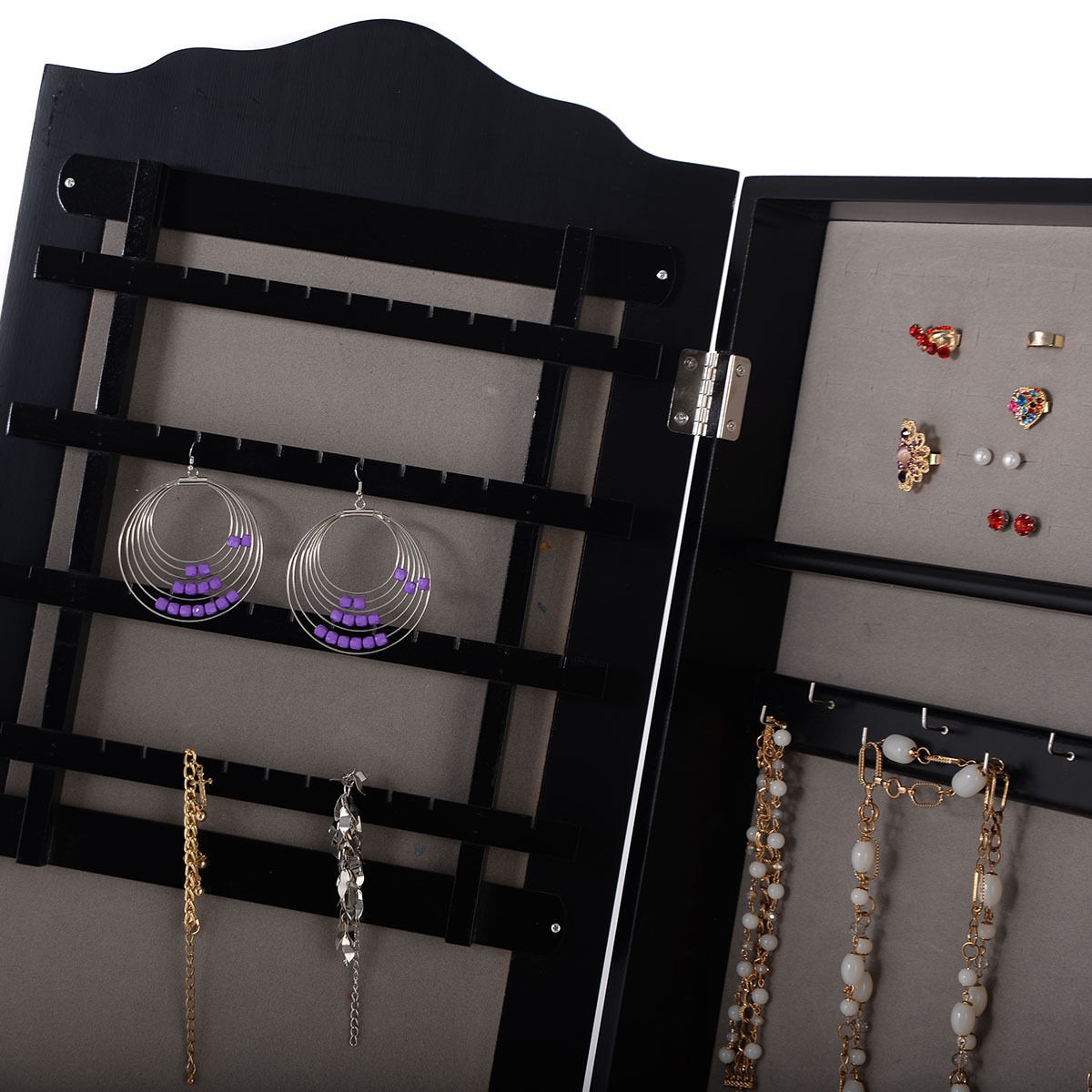 lockable mirrored jewelry cabinet armoire mirror organizer storage box stand us ebay. Black Bedroom Furniture Sets. Home Design Ideas