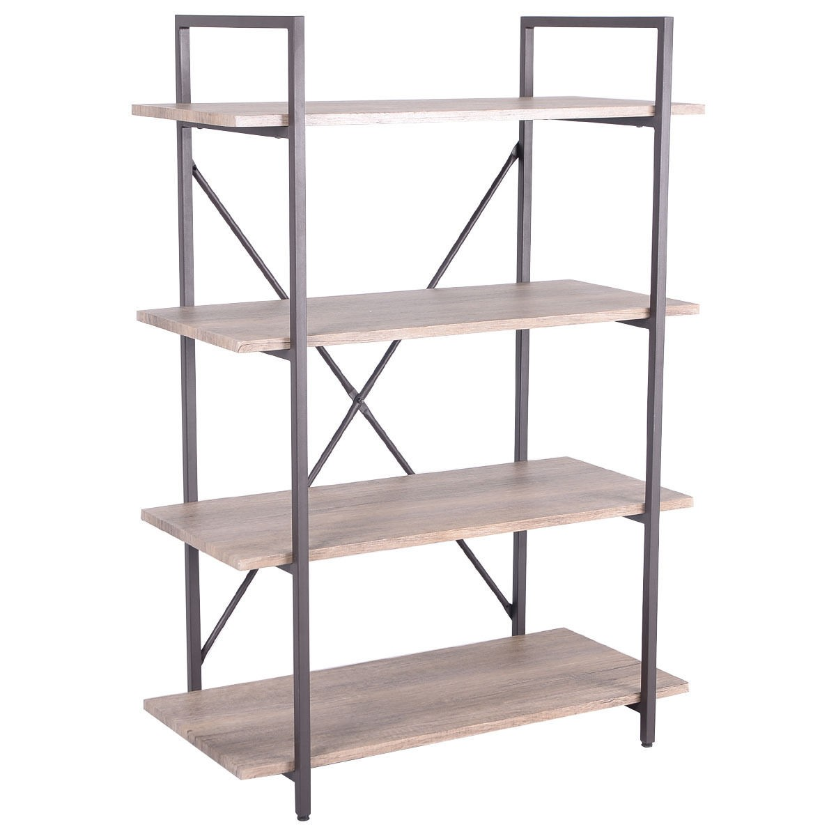 Us 4 tiers bookcase metal wood storage shelf display for Display home furniture