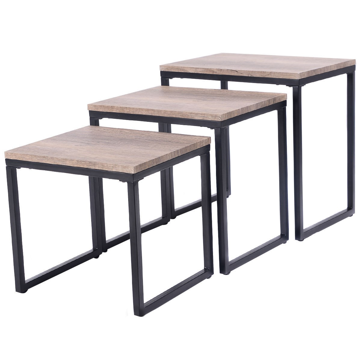 3pc stacking nesting coffee end table set living room for Modern nesting coffee tables