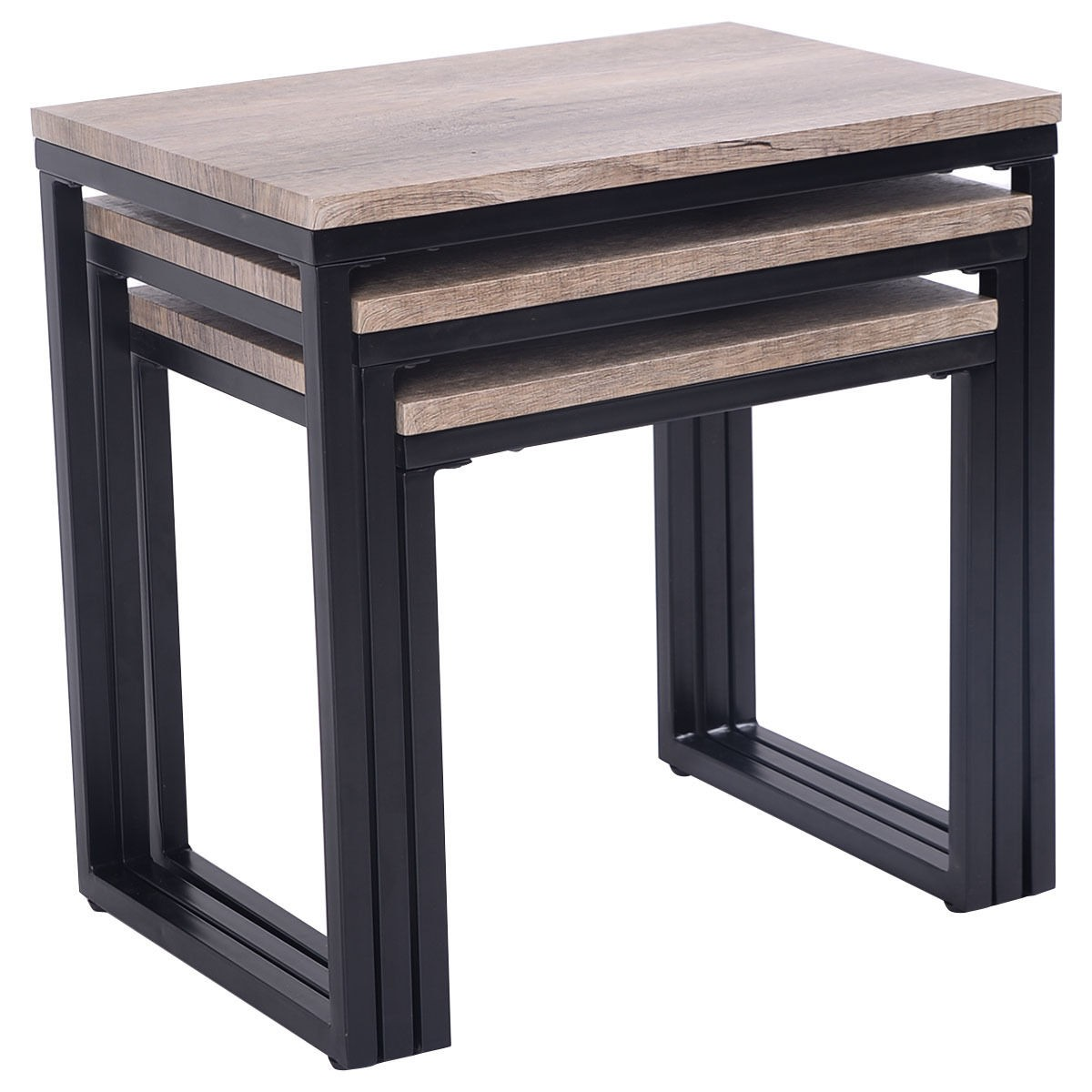 3 Piece Nesting Coffee & End Table Set Wood Modern Living