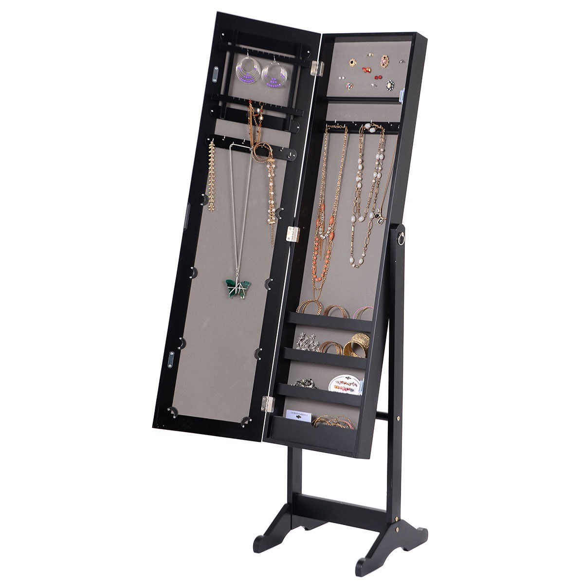 New Mirrored Jewelry Cabinet Armoire Mirror Organizer