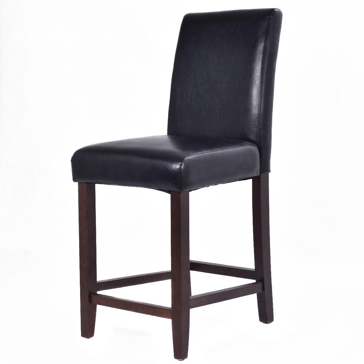2Pcs 29Inch Rush Bar Stools Wood Footstool Barstools