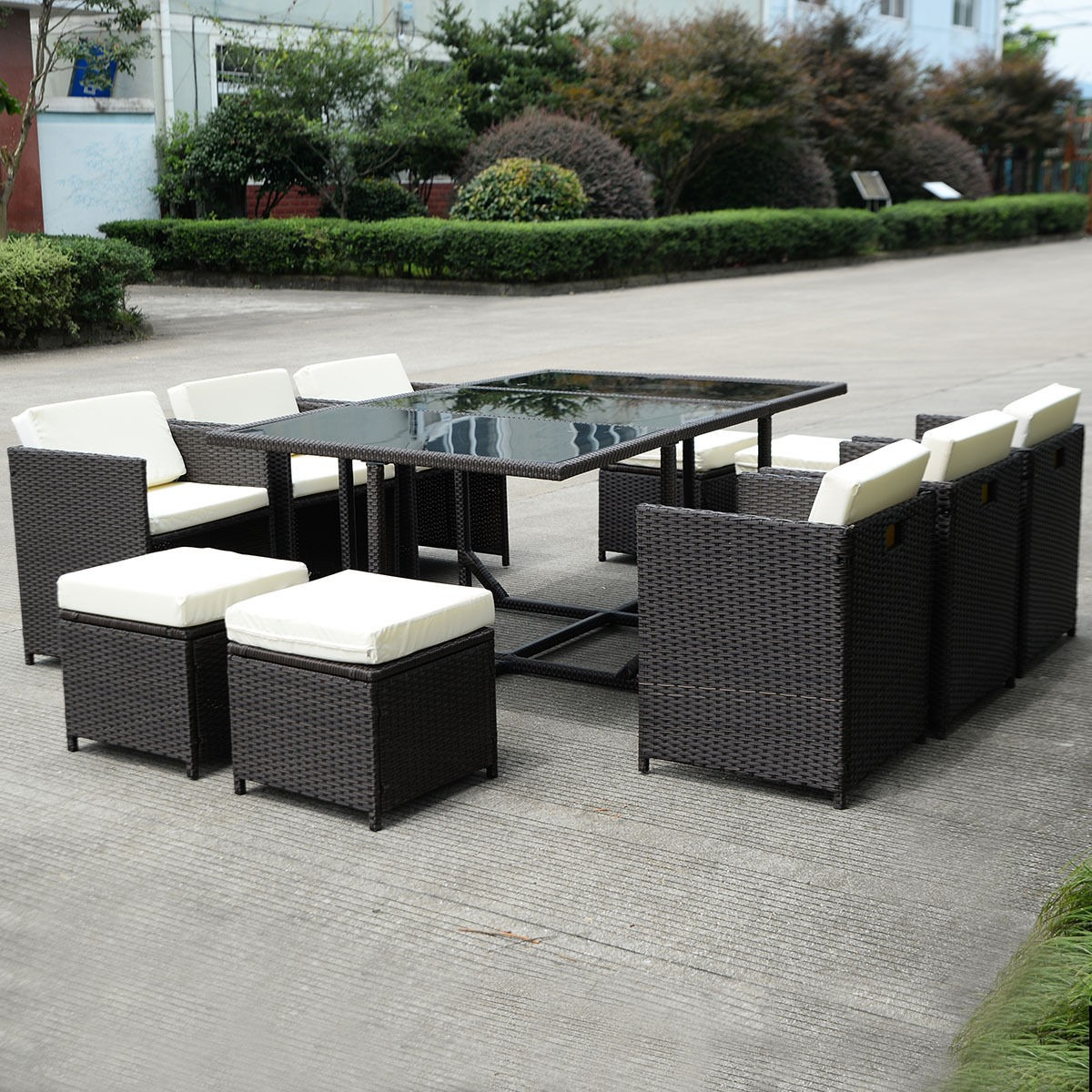 11 Pcs Outdoor Patio Dining Set Metal Rattan Wicker Garden Furniture Cushioned Ebay