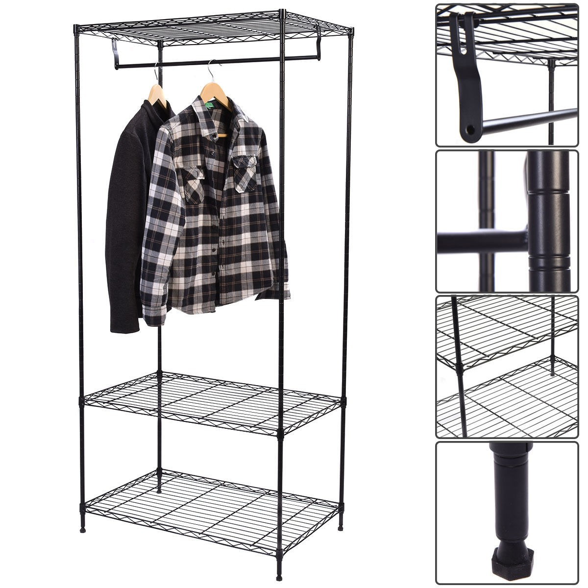 3 tier clothing garment rack hanger shelving wire shelf dress wardrobe us ship ebay. Black Bedroom Furniture Sets. Home Design Ideas