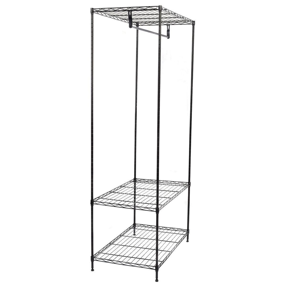 3 tier clothing garment rack hanger shelving wire shelf. Black Bedroom Furniture Sets. Home Design Ideas