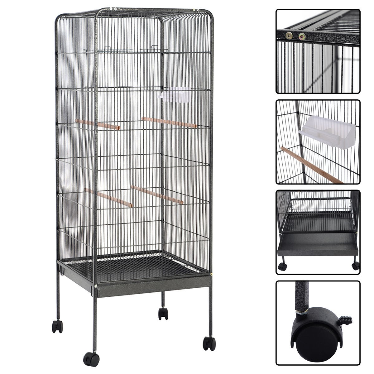 58 large play top parrot bird cage pet supplies w perch stand 2 doors flattop ebay. Black Bedroom Furniture Sets. Home Design Ideas