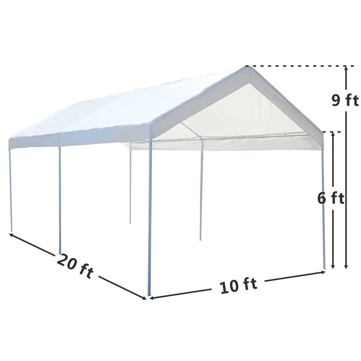 Car Steel Frame Canopy : Portable car carport garage cover steel frame canopy