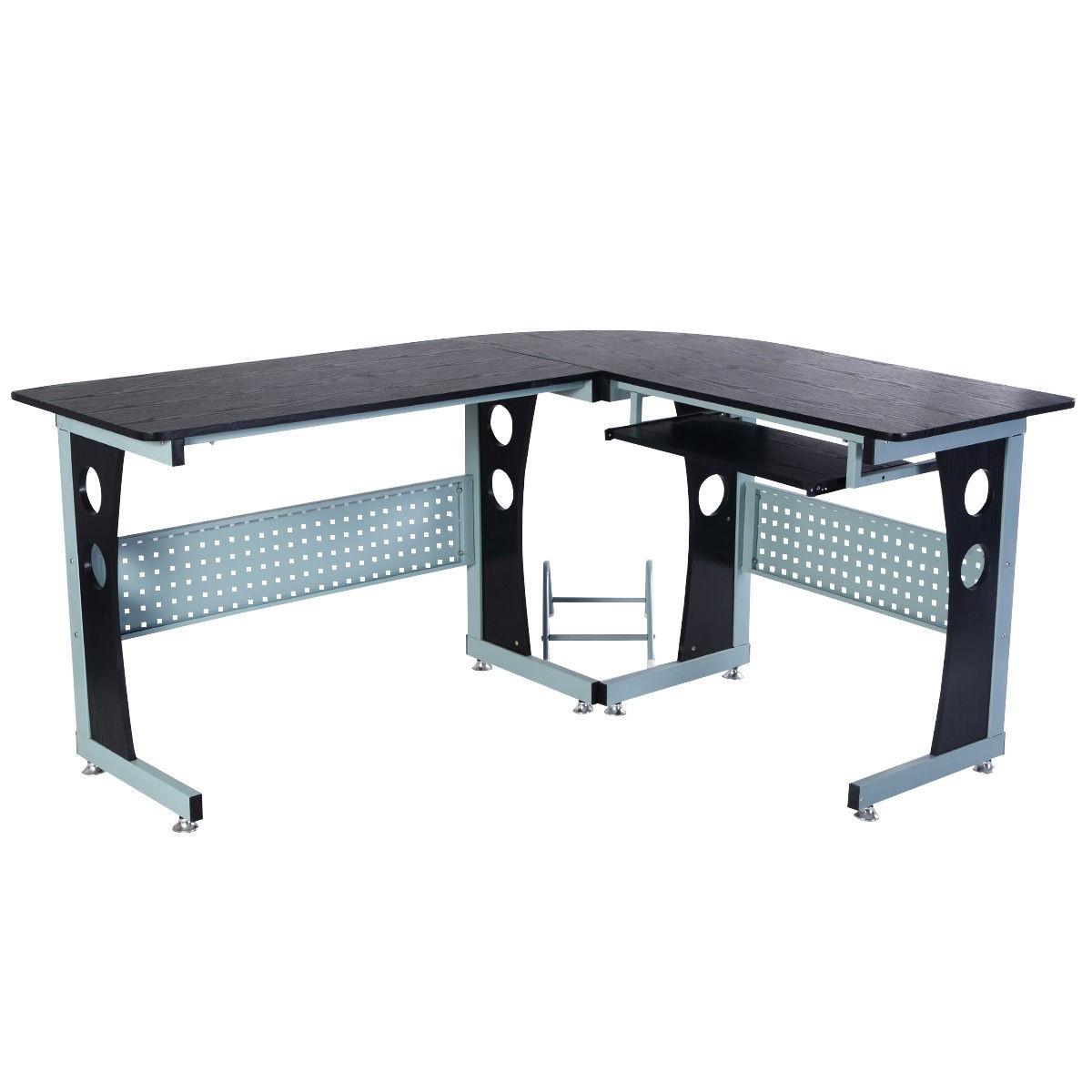 Wood L Shape Corner Computer Desk Pc Laptop Table