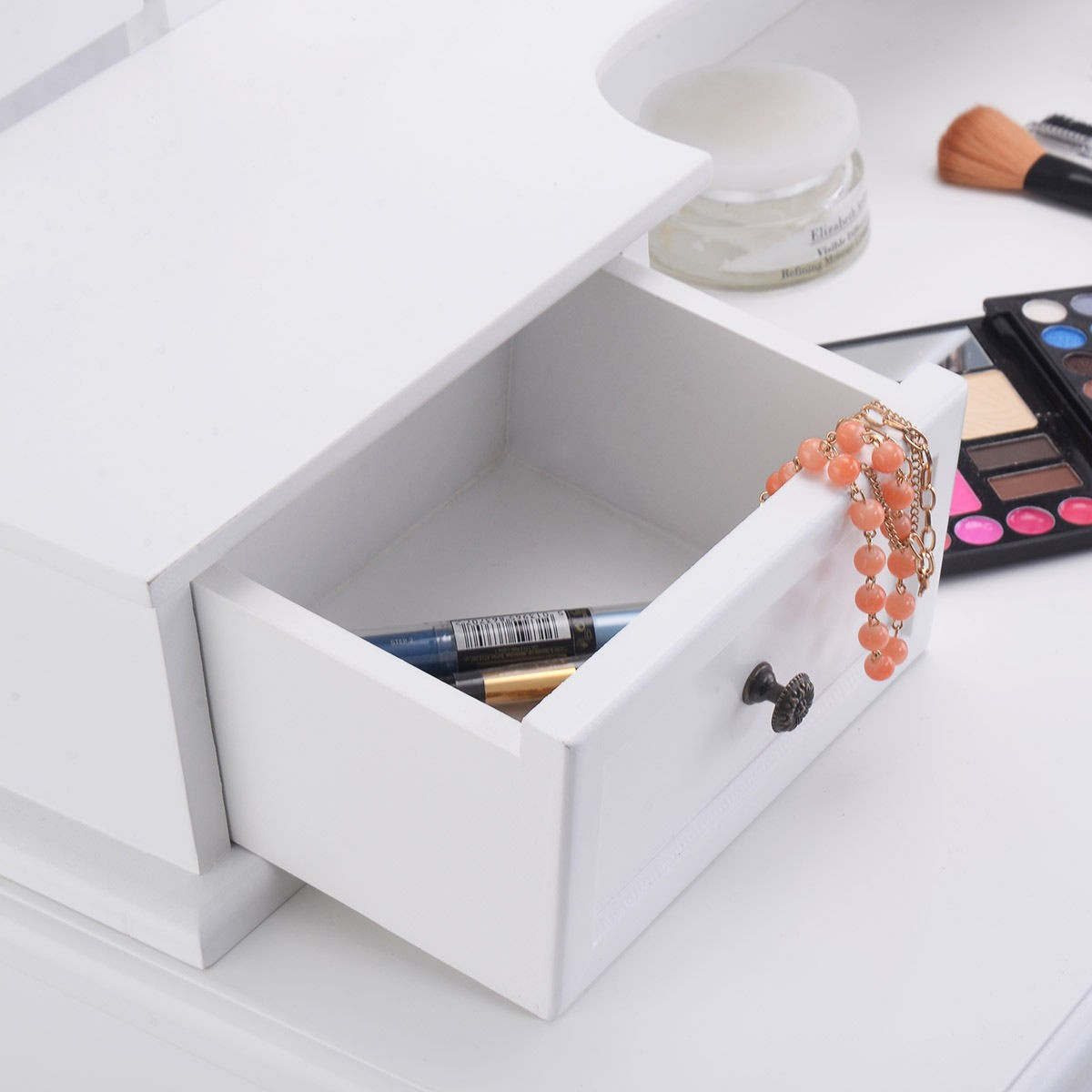 Tri folding mirror wood vanity set makeup table dresser 4 for Foldable beauty table