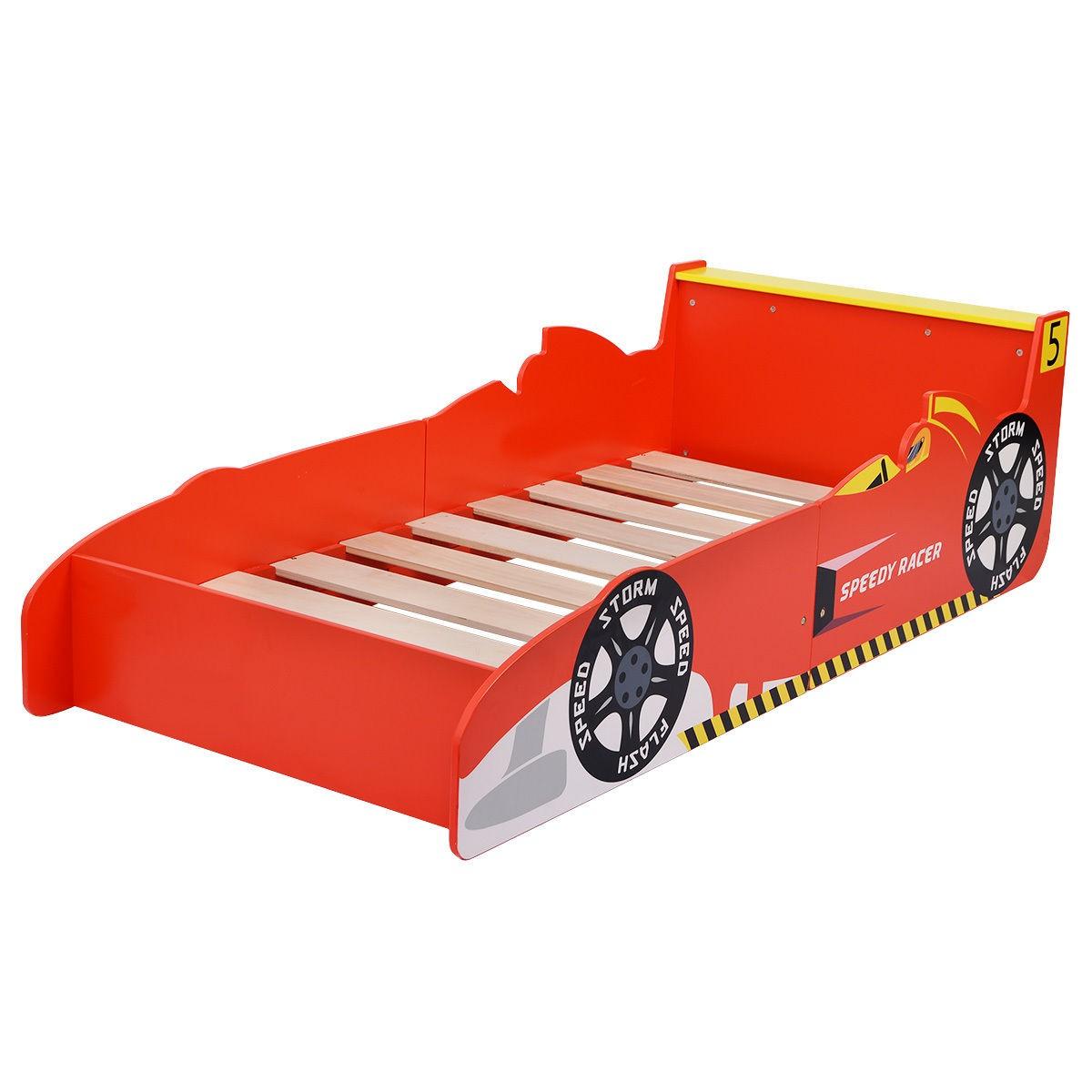 Kids race car bed toddler boys child furniture bedroom