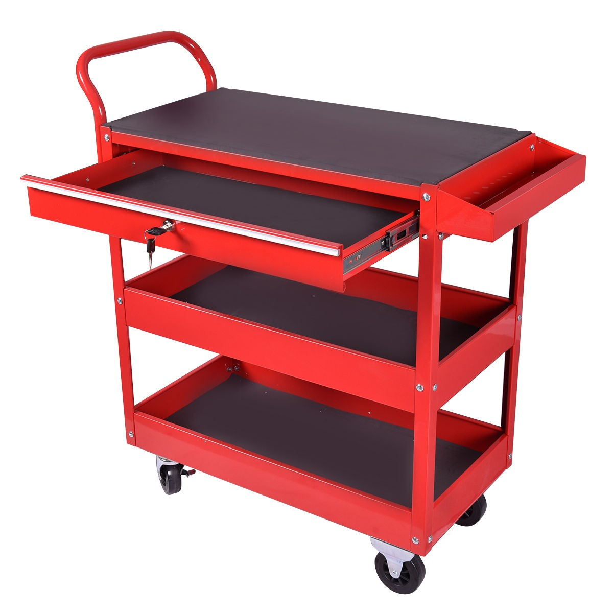 Metal Rolling Tool Cart Storage Chest Box Wheels Storage