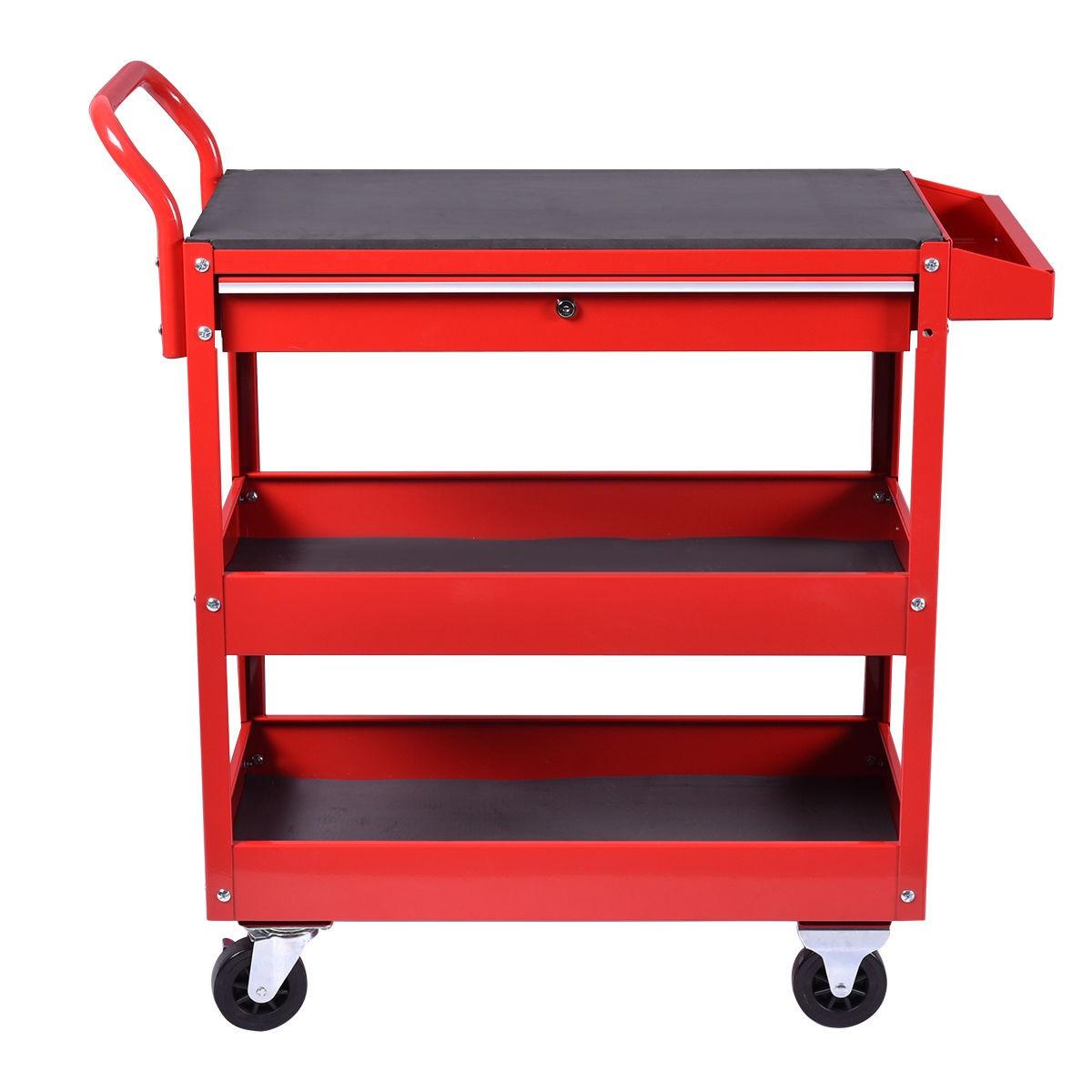 Metal Rolling Tool Cart Storage Chest Box Wheels Storage