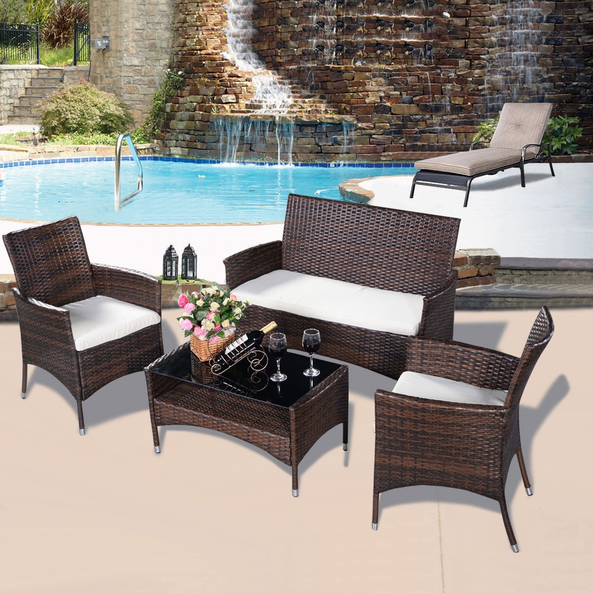 Outdoor Wicker Patio Table And Chairs: 4PCS Outdoor Patio PE Rattan Wicker Table Shelf Sofa
