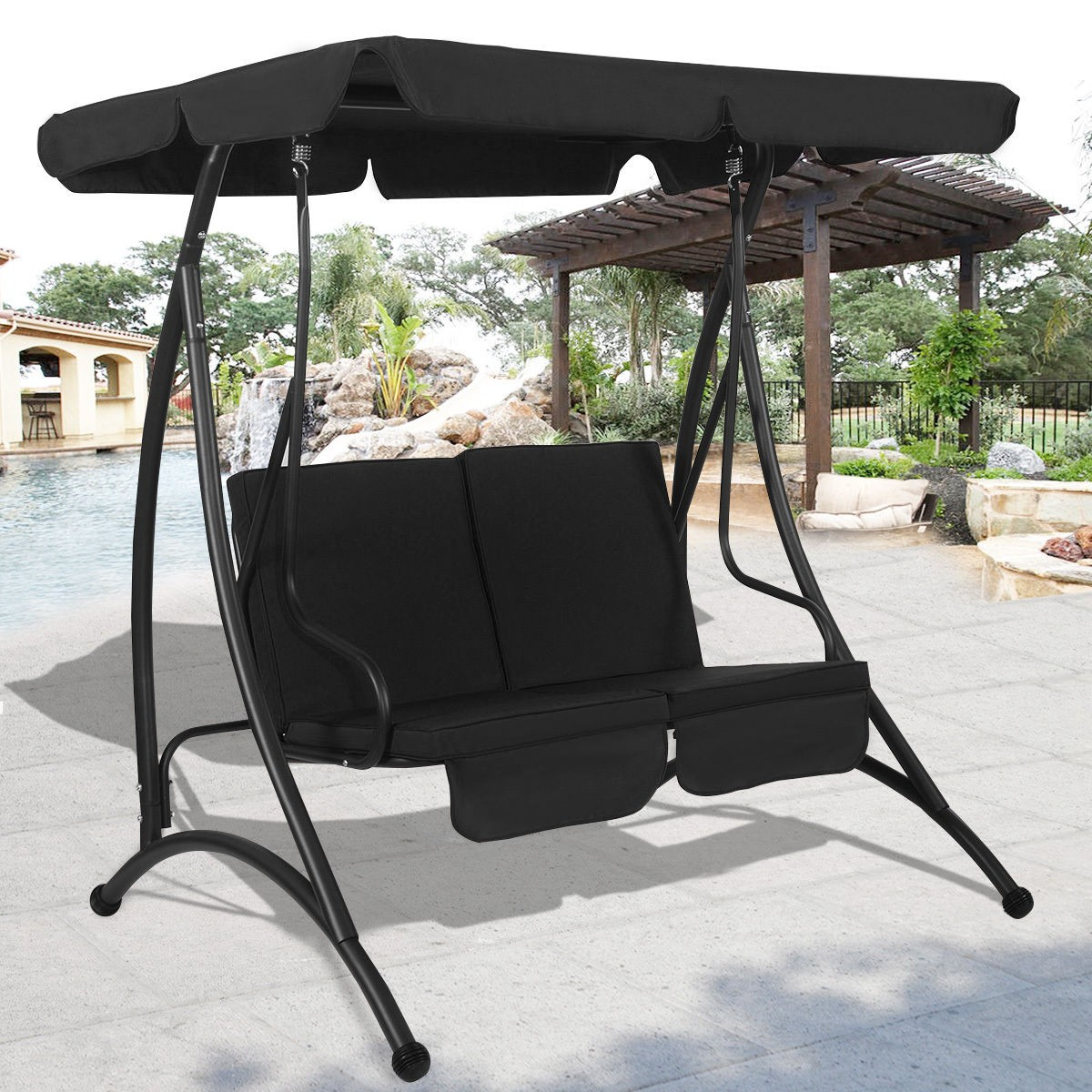 2 person canopy swing chair patio hammock seat cushioned furniture outdoor us ebay - Garden furniture swing seats ...