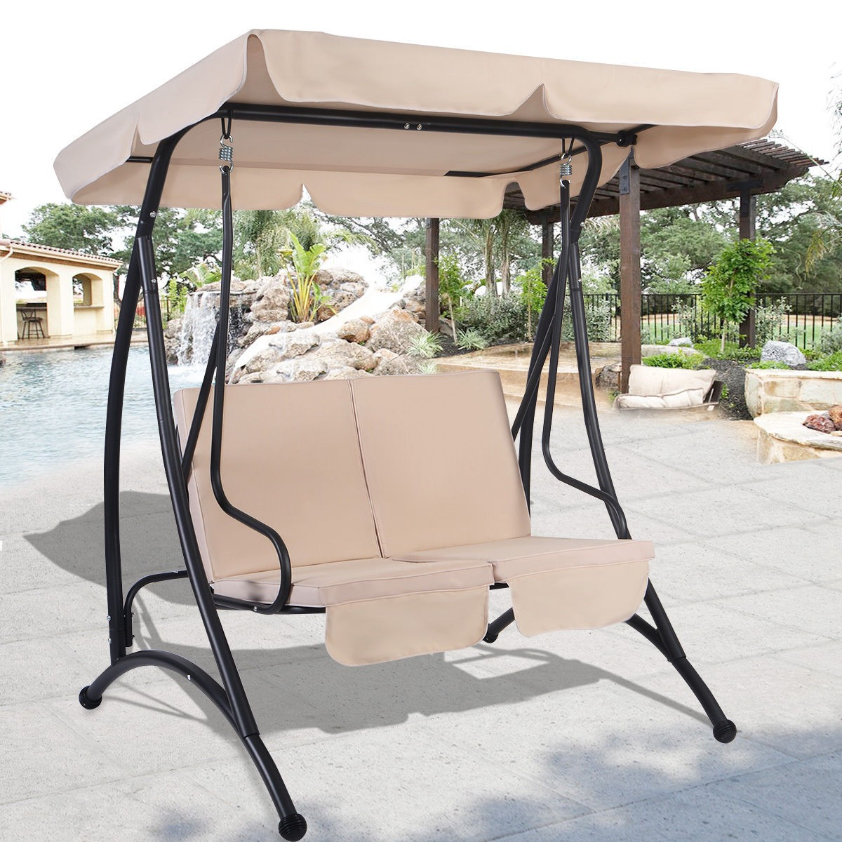 2 Person Canopy Swing Chair Patio Hammock Seat Cushioned Furniture Outdoor US