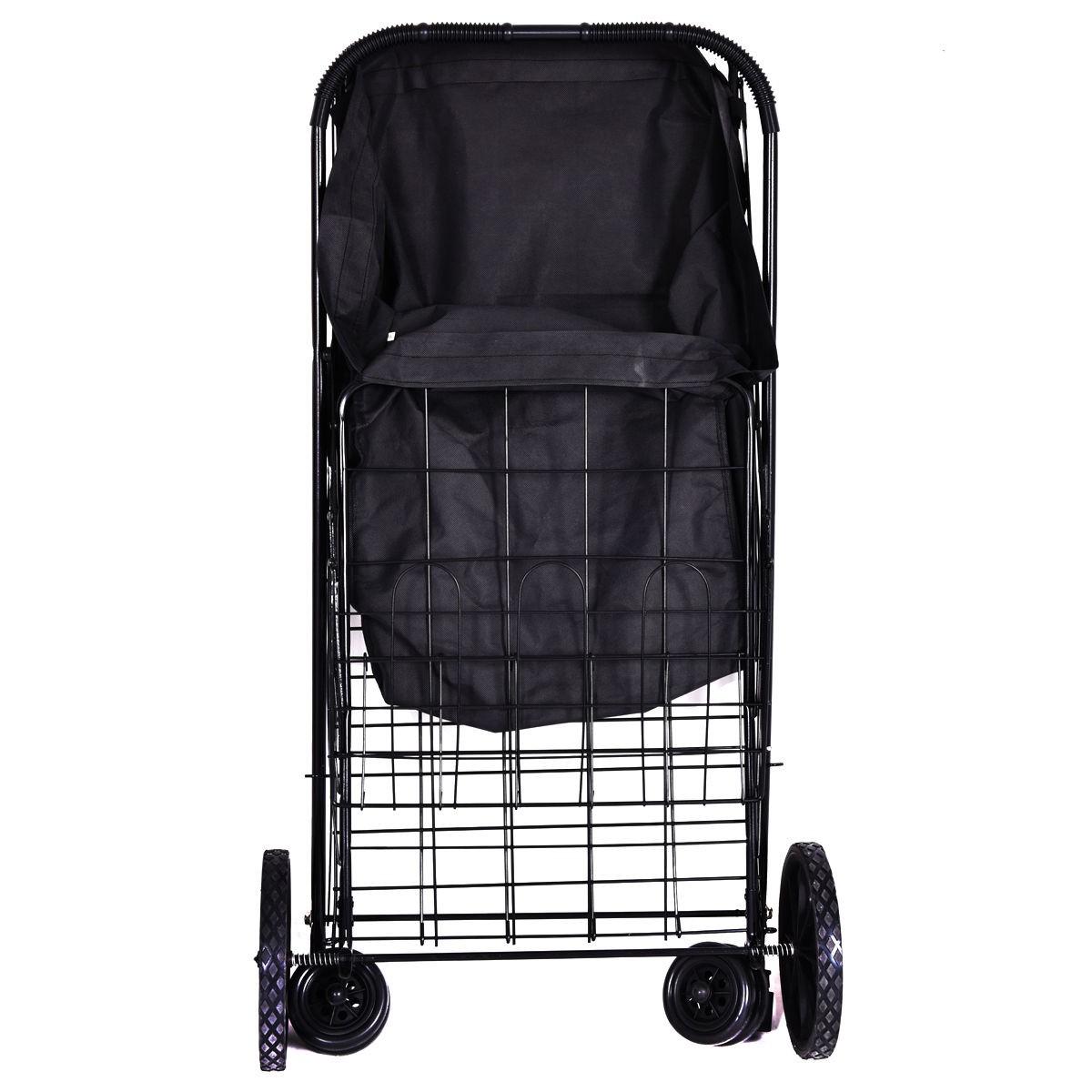 Jumbo size basket folding shopping cart with wheels for laundry grocery travel ebay - Collapsible laundry basket with wheels ...