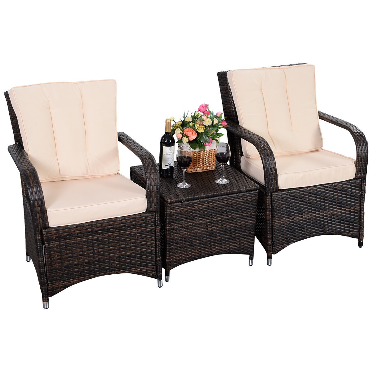 3 Qualited Patio PE Rattan Wicker Furniture Set Outdoor Seat Cushioned Mix Brown