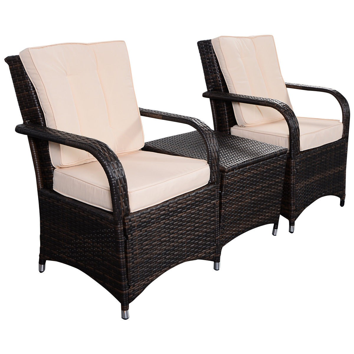 3 pcs outdoor patio pe rattan wicker furniture set seat for Real wicker outdoor furniture