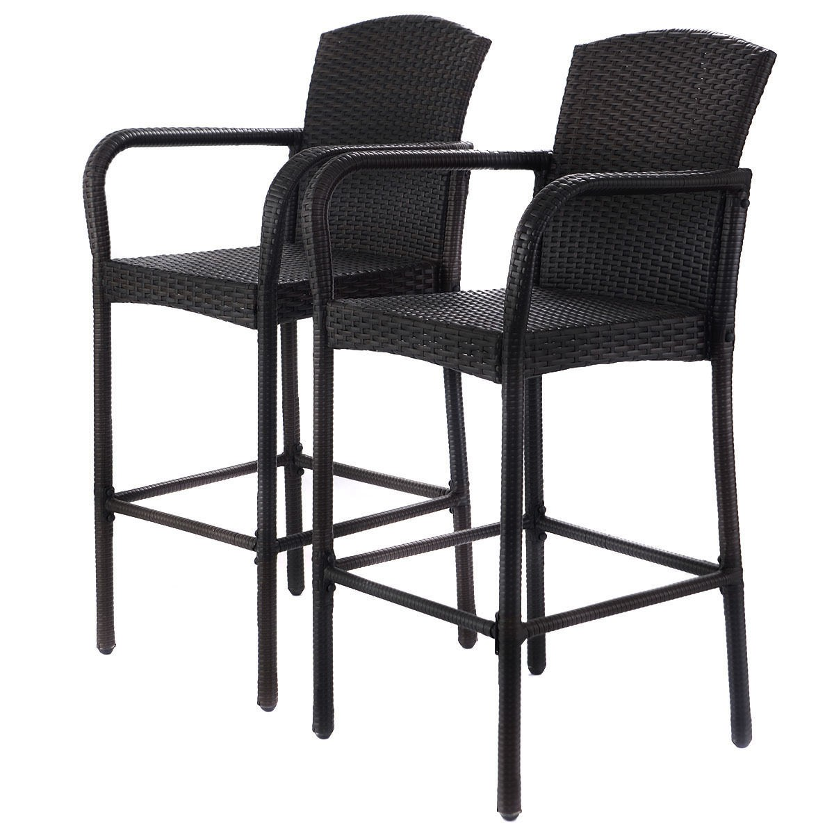 Wicker Chair Barstool Tall High Backrest Patio Furniture: 2 PCS Rattan Wicker Bar Stool High Counter Chair Outdoor