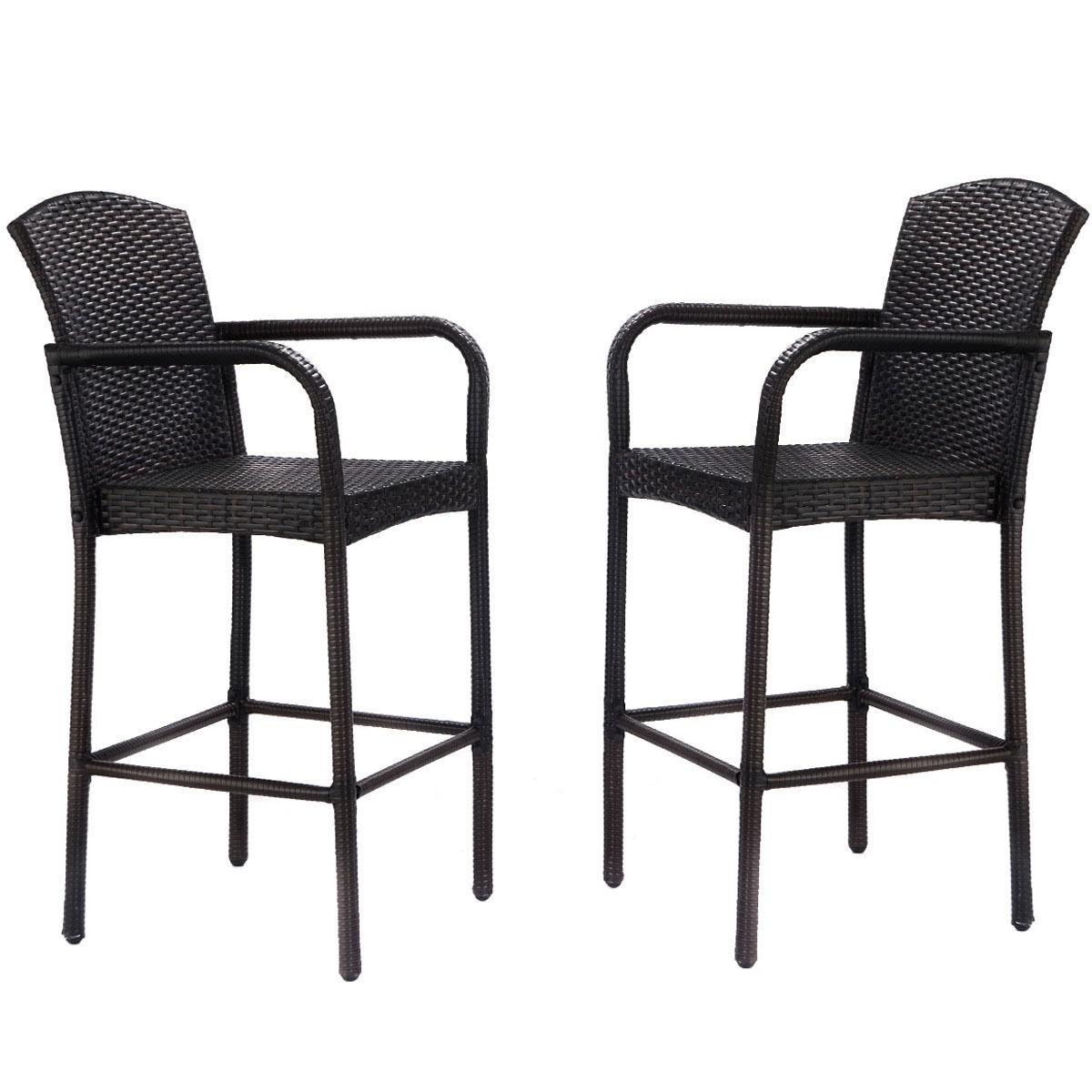2 Pcs Rattan Wicker Bar Stool Armrest High Counter Chair