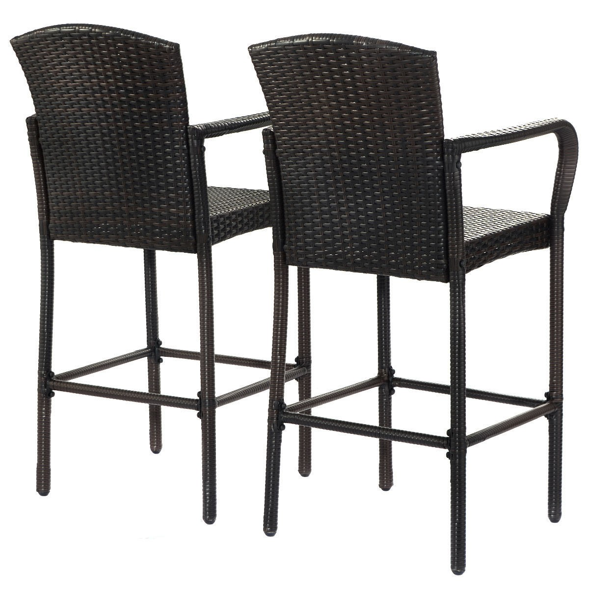 2 Pcs Rattan Wicker Bar Stool High Counter Armrest Chair