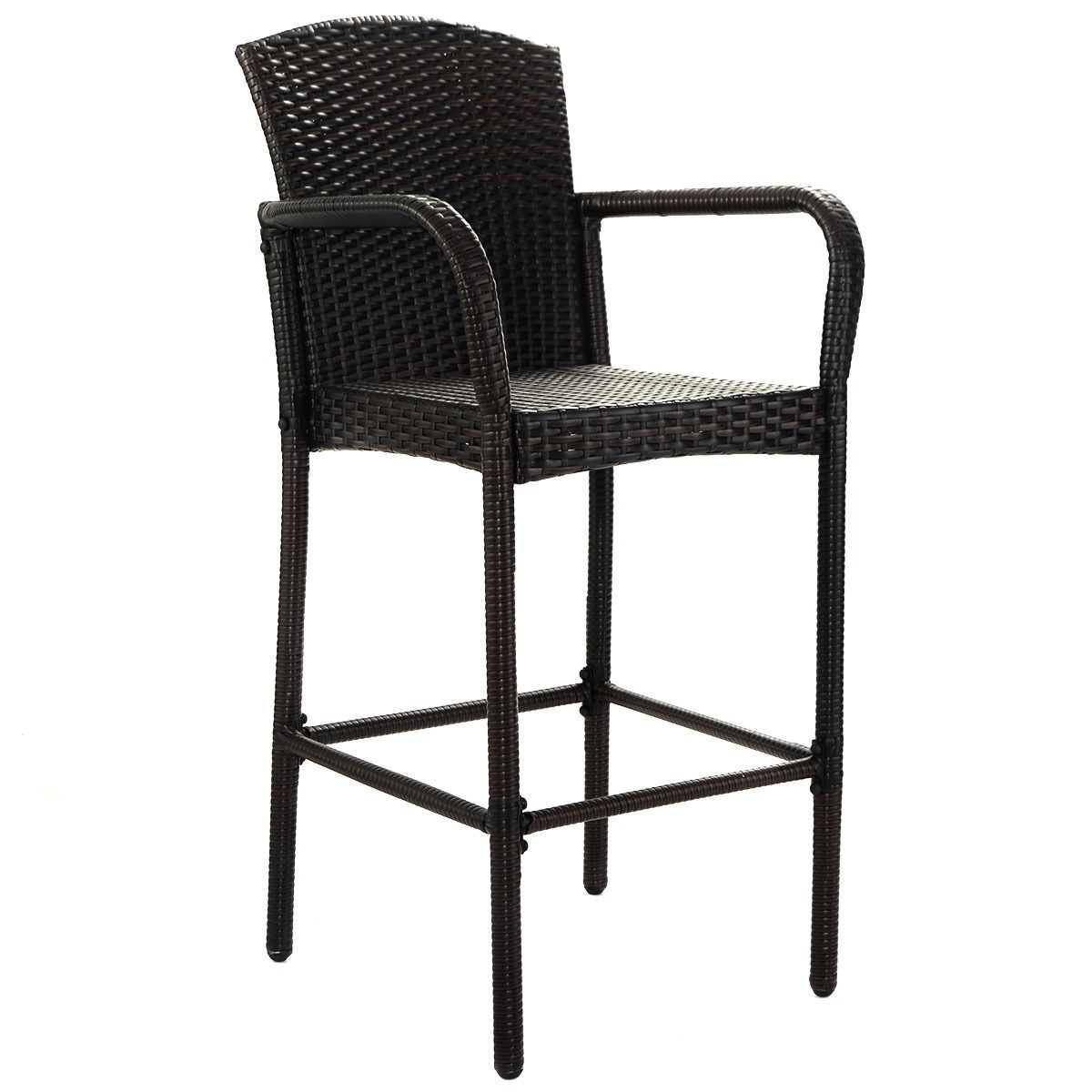 2 Pcs Rattan Wicker Bar Stool High Counter Chair Outdoor Patio Furniture Armrest